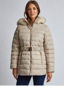 Krémová prošívaná bunda s kožíškem Dorothy Perkins - XS