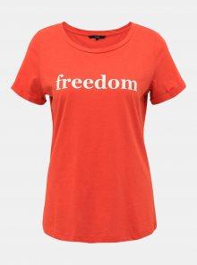 Červené tričko s potiskem VERO MODA Karla Rebecca - S