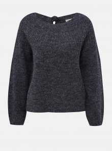 Tmavě modrý žíhaný svetr s průstřihem Jacqueline de Yong Olivia - XS