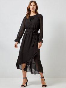 Černé maxi šaty s průstřihem v dekoltu Dorothy Perkins - S
