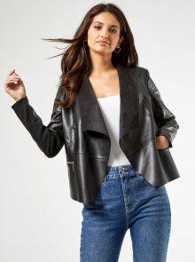 Černé koženkové sako Dorothy Perkins - XS