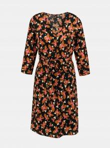 Oranžovo-černé květované šaty VERO MODA Grace - S