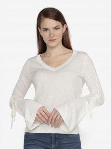 Krémový lehký svetr s řasením na rukávech VERO MODA Adriana - S