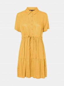 Žluté košilové šaty VERO MODA Dolca - XS