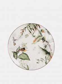 Zeleno-bílý vzorovaný malý talíř Clayre & Eef
