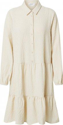 MOSS COPENHAGEN Košilové šaty \'Lauralee Geia\' bílá / béžová