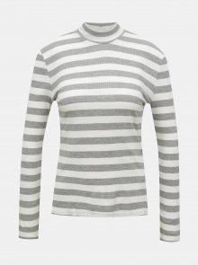 Bílo-šedé pruhované tričko se stojáčkem Noisy May Tanya