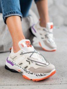 Zajímavé  tenisky bílé dámské bez podpatku 37