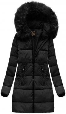 Černá prošívaná dámská zimní bunda s kapucí (7756) černá S (36)