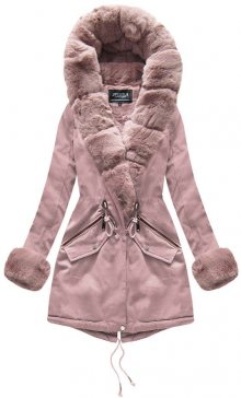 Růžová dámská zimní bunda s kapucí (XW801-2X) růžová XS (34)