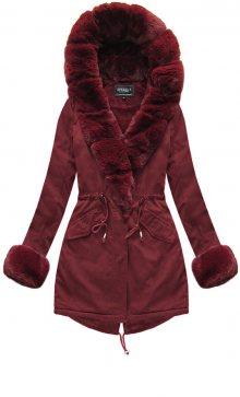Bordó dámská zimní bunda s kapucí (XW793-3X) bordó XS (34)