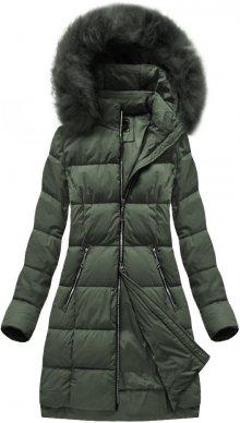 Prošívaná dámská zimní bunda v khaki barvě s kapucí (7702) khaki S (36)