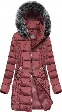 Delší růžová dámská prošívaná zimní bunda s kapucí (B2619-30) růžová S (36)