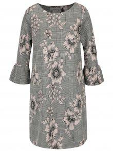 Růžovo-šedé vzorované šaty s 3/4 rukávy Dorothy Perkins Petite