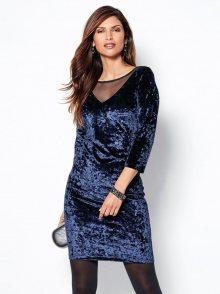 Venca Sametové šaty s krajkou a 3/4 rukávy modrá 36