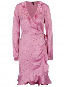 Růžové puntíkované zavinovací šaty VERO MODA Henna