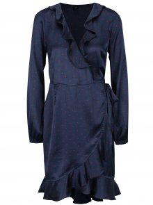 Tmavě modré puntíkované zavinovací šaty VERO MODA Henna