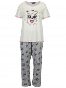 Šedo-krémové pyžamo s potiskem sov Dorothy Perkins Curve