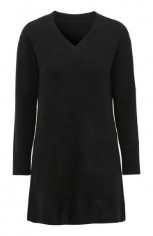 Dlouhý pulovr s výstřihem do V / šedý melír