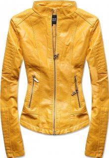 MODOVO Dámská koženková bunda žlutá