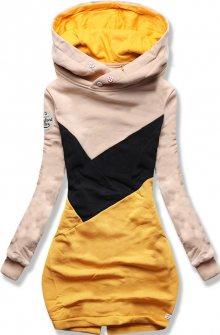 MODOVO Dlouhá dámská mikina béžovo-žlutá