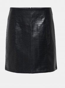 Černá koženková sukně s krokodýlím vzorem Jacqueline de Yong Val