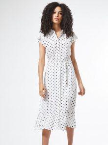 Bílé košilové puntíkované šaty Dorothy Perkins - S
