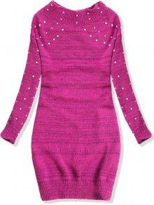 Fuchsia prodloužený svetr s perličkami