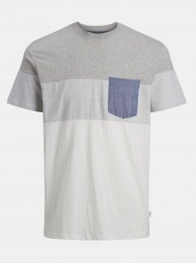 Bílo-šedé tričko Jack & Jones Contrast