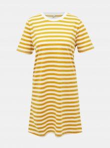 Bílo-žluté pruhované basic šaty ONLY June - XS
