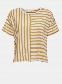 Bílo-žluté pruhované volné tričko ONLY Marie - M