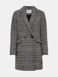 Šedý kostkovaný kabát s příměsí vlny ONLY New Selena - M