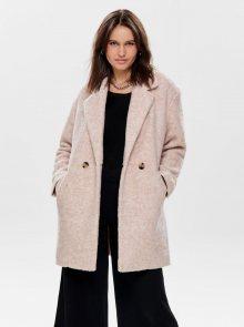 Béžový kabát s příměsí vlny ONLY Nina - M