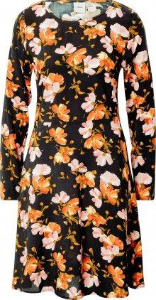 ICHI Šaty \'Vera\' růžová / černá / tmavě oranžová