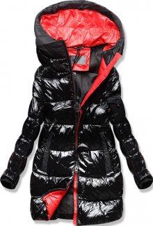 MODOVO Zimní bunda s barevnou podšívkou černo-červená