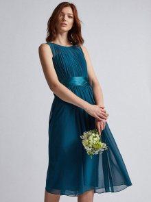 Petrolejové šaty se zavazováním Dorothy Perkins - M