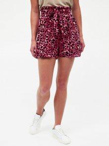 Tmavě růžové kraťasy s leopradím vzorem Dorothy Perkins - L