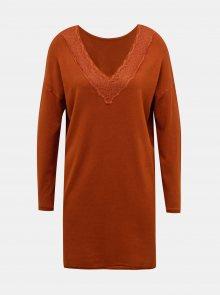 Hnědé svetrové šaty ONLY  - S