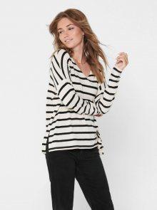 Černo-bílý pruhovaný basic svetr ONLY Mayea - S