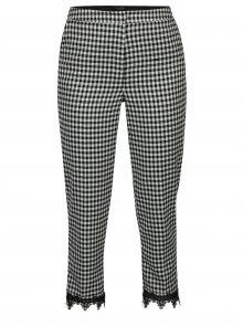 Krémovo-černé kostkované kalhoty s krajkou Miss Selfridge