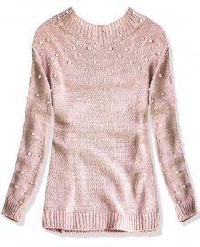 Růžový svetr s perličkami