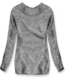 Tmavě šedý svetr s perličkami
