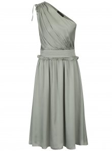 Světle zelené asymetrické šaty s volánem Little Mistress