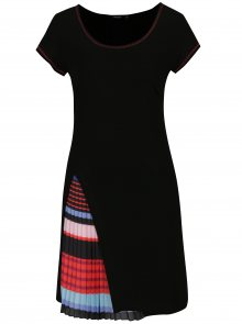 Černé šaty s plisovaným detailem Desigual Evaristo