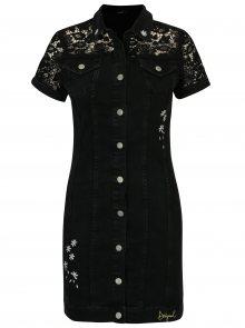 Černé džínové šaty s krajkovými detaily Desigual Gwen