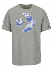 Šedé pánské triko s potiskem Converse Cons Star Chevron Photo