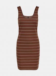 Hnědé pruhované šaty ONLY Loui - XS