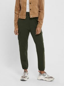 Tmavě zelené kalhoty s kapsami ONLY - XS