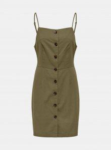 Khaki šaty s příměsí lnu ONLY Ember - M