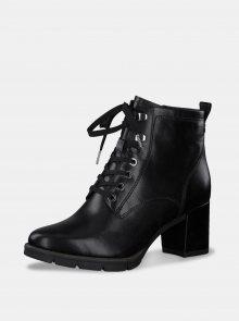 Černé dámské kožené kotníkové boty Tamaris - 36